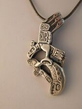 INUIT NORTH COAST EAGLE CATCHING SALMON STERLING PENDANT NECKLACE