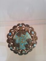 Vintage Art Deco Czech light blue Art Glass Filigree brooch