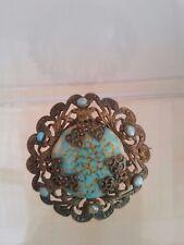 blue Art Glass Filigree brooch Vintage Art Deco Czech light