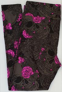 OS LuLaRoe One Size Leggings Halloween 2021 Skulls Roses Gray Pink NWT 08