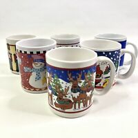 Set of 6 Christmas Holiday Coffee Mugs Reindeer Santa Claus Snowman Stocking