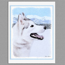 6 Siberian Husky Dog Silver and White Blank Art Note Greeting Cards