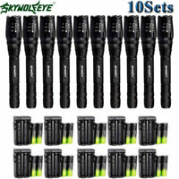 80000Lumens T6 Zoom LED Flashlight Torch Lamp +Rechargeable 18650BTY +Charger US