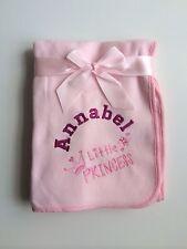 Personalised Pink Fleece Little Princess Blanket. Great Baby Gift.