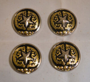 """Conchos - 1 1/2"""" Chicago Screw - Silver Star & Gold Design - Pack of 4 (C15)"""