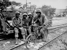 WW2 Photo WWII US Army Negro Soldiers with Bike 1945  World War Two  / 1209
