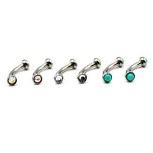 Round Stone Eyebrow Ring Curved Barbell Banana Bar daith rook jewellery curved