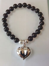 Black Onyx  Bead Bracelet With Sterling Silver Puff heart