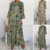 Size Womens Baggy Floral Long Dress Ladies Casual Holiday Maxi Dress 3/4 Sleeves