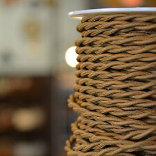 Antique Bronze - Cloth Covered Electrical Wire 25 ft - Braided wire - Fabric