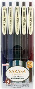 Zebra Gel Ball Pen SARASA JJ15-5C-VI 0.5mm Vintage 5 Color Set Japan-Made