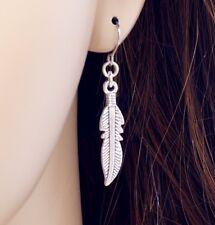 #E121K Pair Women Men Dangle Feather PIERCED Hook Earrings 4cm New