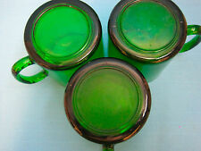 Holiday Forest Green Mugs Cups from France Set of 3
