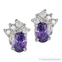 925 Sterling Silver Purple Cubic Zirconia CZ Crystal Faux Amethyst Stud Earrings