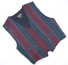 Robert Stock Silk Vest XL Mens Multicolor Striped Waistcoat Red Green Purple Sz