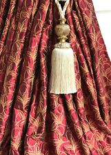 """JAMES HARE Pure Silk Interlined Curtains 61""""w 82""""d Red Gold Embroidered HUGE"""
