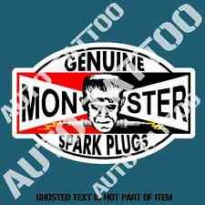 GENUINE MONSTER SPARK PLUG Decal Sticker for Mancave Garage Hot Rod Car Stickers
