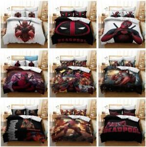 Marvels Deadpool Boys Quilt Duvet Cover 2Pcs Bedding Set Single Double King Size