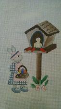 Rabbit and Birdhouse Handpainted Needlepoint Canvas