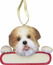 "Shih Tzu Ornament Puppy Cut ""Santa's Pals"" With Personalizable Name Plate"