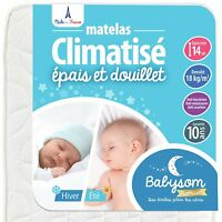 Babysom - Matelas Bébé Climatisé Eté/Hiver - 60 x 120cm - Epaisseur 14cm - Anti