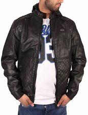 Ecko Mens Boys College Varsity Hooded Bomber Bikers Faux Leather Hip Hop Black C