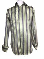 "Ted Baker Endurance Men's Formal Shirt Multi Striped Cufflinks Sleeve 15.5""/ 39"