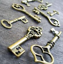 20pcs assorted mixed bronze skeleton keys vintage style pendants wholesale lot