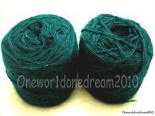 New 2 Skeins 70% Angora Rabbit Hair Kniting Yarn 100g (3.52 oz) Dark Green BIN