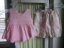NWT CHICKEN NOODLE baby pink bow toile bloomer set 12 m