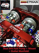 Dual 044 High Flow External Fuel Pump + Red Bracket & Manifold **620LPH** AN6 V8
