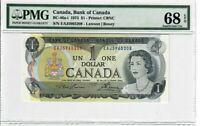 Canada $1 Dollar Banknote 1973 BC-46a-i PMG Superb GEM UNC 68 EPQ