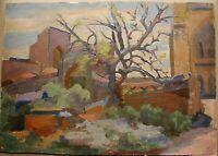 Russian Ukrainian Soviet Oil Painting Postimpressionism architecture tree
