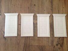4 x PLASTIC INTERNAL GEORGIAN SIX PANEL DOORS DOLLS HOUSE DIY