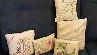 Collection of (5) Vintage Needlework Pillows-Small Handmade-LOOK!