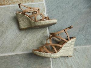 New BERTIE Toast Tan leather Espadrille Wedge Sandals 6 eu 39 Aspiga fan