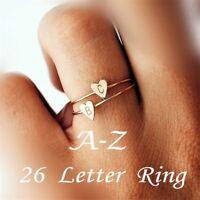 Anillos de corazón de 26 letras Joyas con nombre para la amistad de las niñas