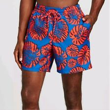 44a2c01751 Merona Swim Shorts Trunks Red Blue Tropical Print Size XL X-large