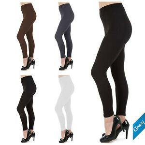 Womens Ladies Plain Full Length Leggings Size 6 8 10 12 14 16 18 20 22 24 26