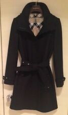 BURBERRY Womens GIBBSMOORE WOOL Blend Belted Trench Coat - BLACK - SIZE 6 - NWT!