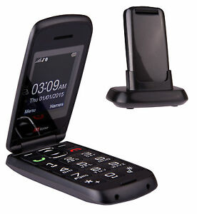 TTfone Star Big Button Simple Easy Folding Flip Sim Free Mobile Phone - Grey