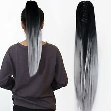 "22"" Claw on Ombre Two Tone Synthetic Long Straight Ponytail Hair Extensions N..."