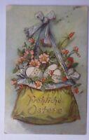 """""""Ostern, Tasche, Blumen, Ostereier"""" 1907, Prägekarte ♥ (60510)"""