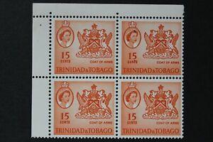 1964 TRINIDAD & TOBEGO - QE2 - 15c CORNER BLOCK OF 4 - MNH