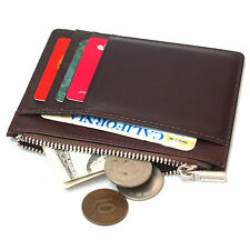 New Genuine Leather Slim Credit Card Wallets Zipper Coin Purse For Womens