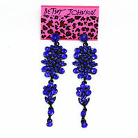 Women's Shiny Crystal Rhinestone Eardrop Long Dangle Betsey Johnson Earrings