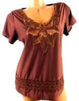 Le quang brown women's plus size crochet trim v-neck short sleeve top XL