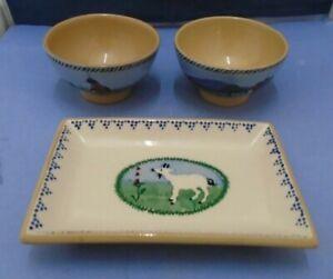 Two Nicholas Mosse Irish Pottery Farm Animal Pattern Small Bowls And Tray
