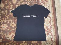 WASTED YOUTH MEN'S BLACK T SHIRT SIZE LARGE