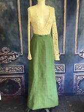 Vintage1960s Green Grasscloth-Like Hostess Maxi Skirt SMALL A-Line Special Occ.